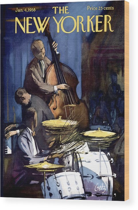 Concert Wood Print featuring the painting The New Yorker Cover - January 4th, 1958 by Arthur Getz