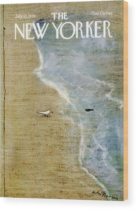 Oceans Wood Print featuring the painting The New Yorker Cover - July 10th, 1978 by Andre Francois