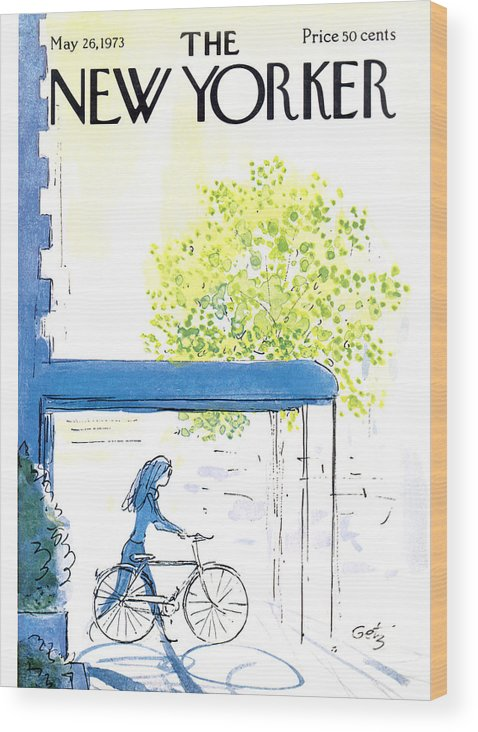 Bicycle Wood Print featuring the painting The New Yorker Cover - May 26th, 1973 by Arthur Getz