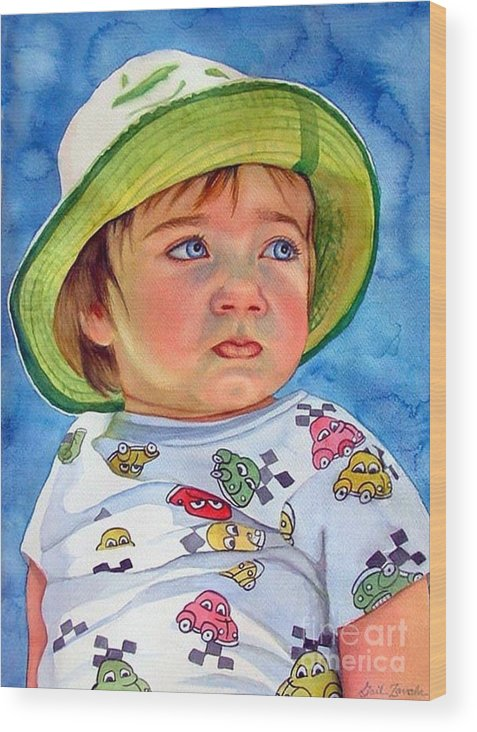 Portrait Wood Print featuring the painting The Pout by Gail Zavala