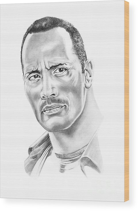 Pencil Wood Print featuring the drawing The Roc  Dwain Johnson by Murphy Elliott