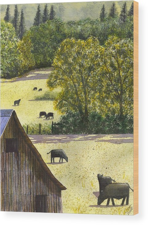 Landscape Wood Print featuring the painting The View From My Back Deck by Catherine G McElroy