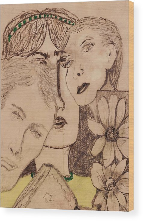 Faces Wood Print featuring the drawing Three Faces by JuneFelicia Bennett
