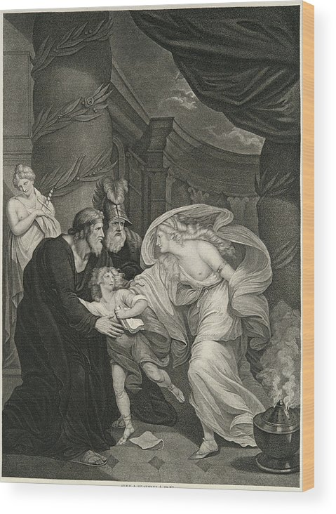 Thomas Kirk Wood Print featuring the drawing Titus's Garden. Lucius Pursued By Lavinia by Thomas Kirk