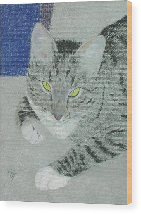 Tabby Cat Wood Print featuring the painting Tom Bombadil by Miriam A Kilmer