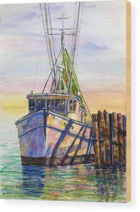 Shrimp Wood Print featuring the painting Tonyo Shrimp Boat by Shirley Sykes Bracken