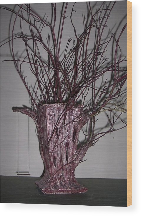 Teapot Pun Tree Abstract Wood Print featuring the mixed media Treepot by Sally Van Driest