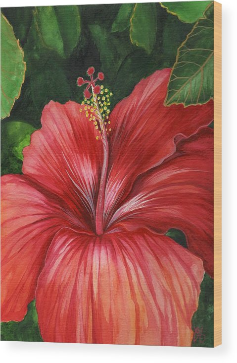 Hibiscus Wood Print featuring the painting Tropic Fire by Carrie Auwaerter