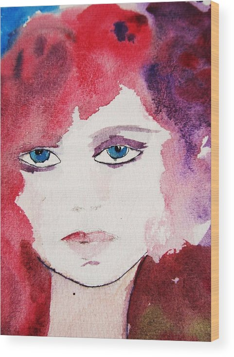 Watercolor Painting Wood Print featuring the painting Tueday's Girl by Trilby Cole