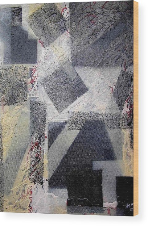 Abstract Wood Print featuring the painting undercover N2 by Evguenia Men