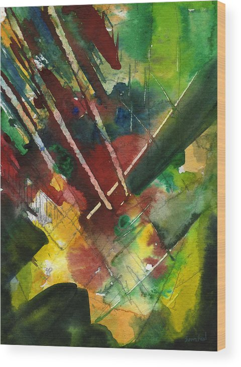Watercolor Wood Print featuring the painting Untitled Abstract by Sean Seal