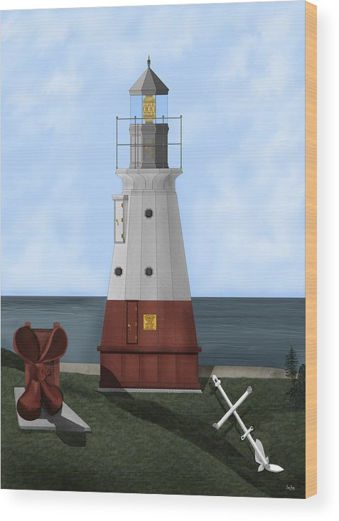 Lighthouse Wood Print featuring the painting Vermillion River Lighthouse On Lake Erie by Anne Norskog