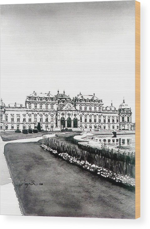 Vienna Wood Print featuring the painting Vienna And The Belvedere by Johannes Margreiter