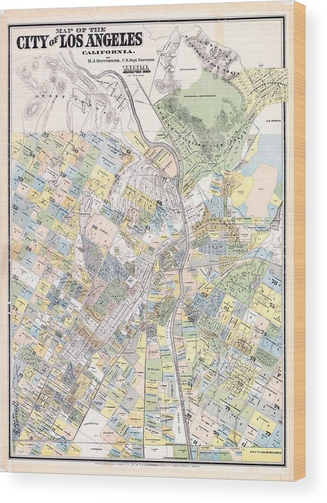 photo regarding Printable Map of Los Angeles named Classic Map Of Los Angeles Ca - 1884 Wooden Print