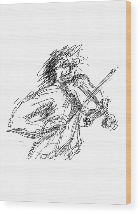 Violinist Wood Print featuring the drawing Violinist by Sam Chinkes