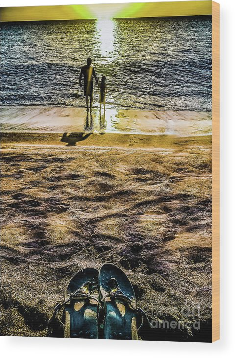 Father Wood Print featuring the photograph Walk By The Sea by Margaux Dreamaginations