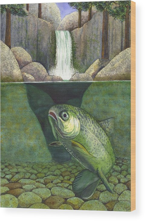 Trout Wood Print featuring the painting Water by Catherine G McElroy