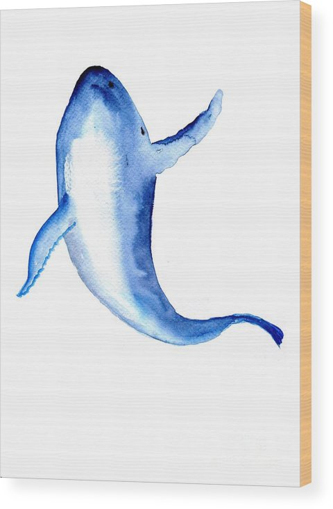 Humpback Whale Wood Print featuring the painting Whale 3 by Sweeping Girl