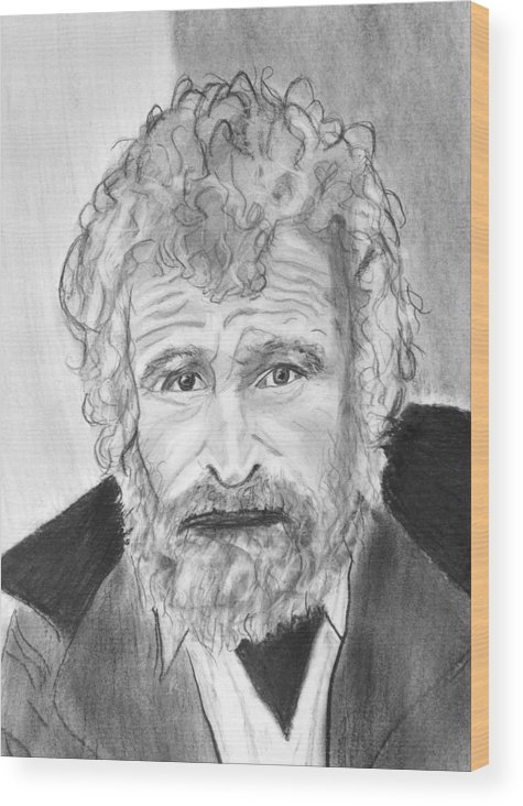Homeless Man Hungry Poor Poverty Sad Saddness Scruffy Desparate Wood Print featuring the drawing What About Tomorrow by Cathy Jourdan