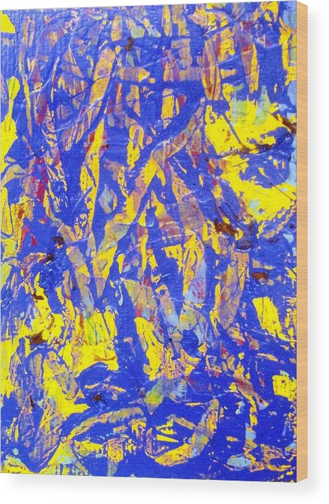Abstract Wood Print featuring the painting When A Tree Falls Alone In A Forest 2 by Bruce Combs - REACH BEYOND
