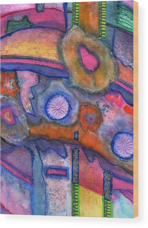 Creative Passages Wood Print featuring the painting Whimsy by Cassandra Donnelly