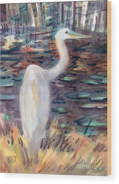 White Egret Wood Print featuring the painting White Egret by Donald Maier