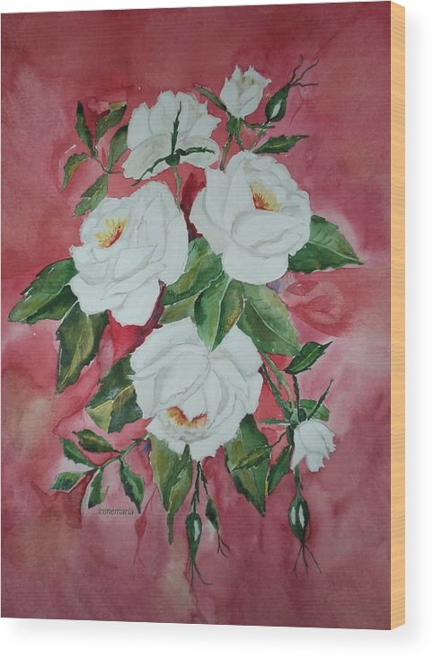 Roses Flowers Wood Print featuring the painting White Roses by Irenemaria Amoroso