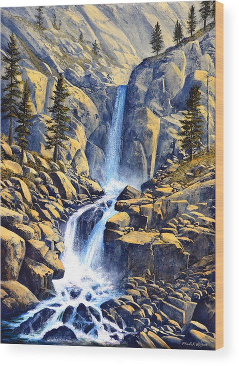 Wilderness Waterfall Wood Print featuring the painting Wilderness Waterfall by Frank Wilson