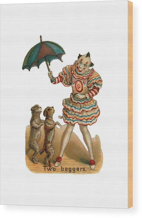 Vintage Circus Wood Print featuring the digital art Will Work For Food by ReInVintaged