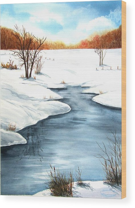 Original Watercolour Wood Print featuring the painting Winter Memories by Sharon Steinhaus