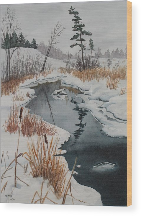Winter Wood Print featuring the painting Winter Reflection by Debbie Homewood