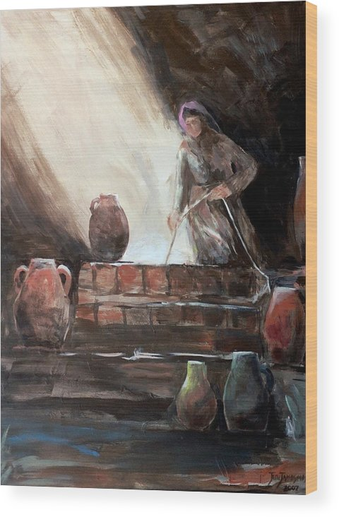 Woman Wood Print featuring the painting Woman At The Well by Jun Jamosmos