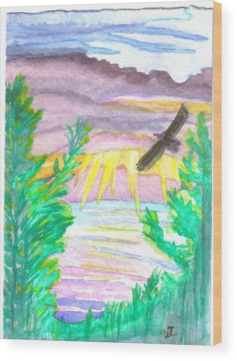 Landscape Wood Print featuring the painting Wooded Sunset by Warren Thompson
