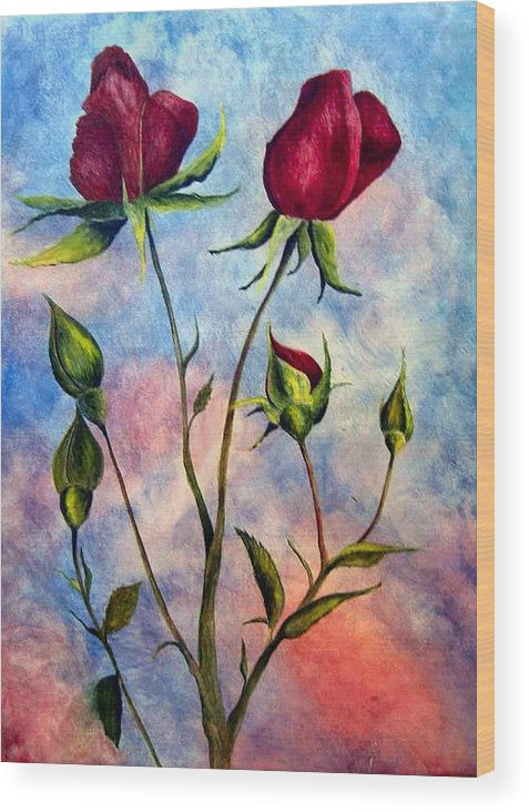 Rose Wood Print featuring the painting Woop Woop Rose by JoLyn Holladay