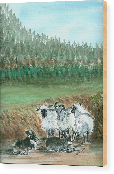 Dogs And Sheep Wood Print featuring the painting Working Girls by Laura Johnson