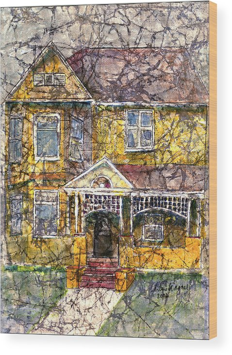 House Wood Print featuring the mixed media Yellow Batik House by Arline Wagner