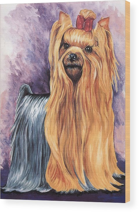 Yorkshire Terrier Wood Print featuring the painting Yorkshire Terrier by Kathleen Sepulveda