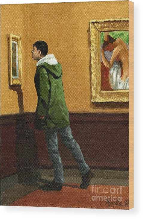 Artwork Wood Print featuring the painting Young Man Viewing Art - Painting by Linda Apple