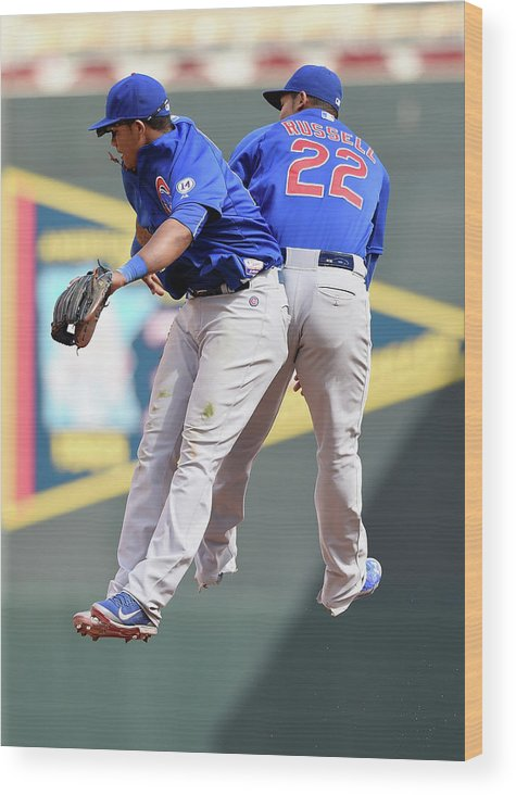 People Wood Print featuring the photograph Addison Russell And Starlin Castro by Hannah Foslien