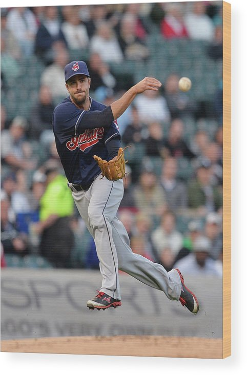 American League Baseball Wood Print featuring the photograph Lonnie Chisenhall And Gordon Beckham by Brian Kersey