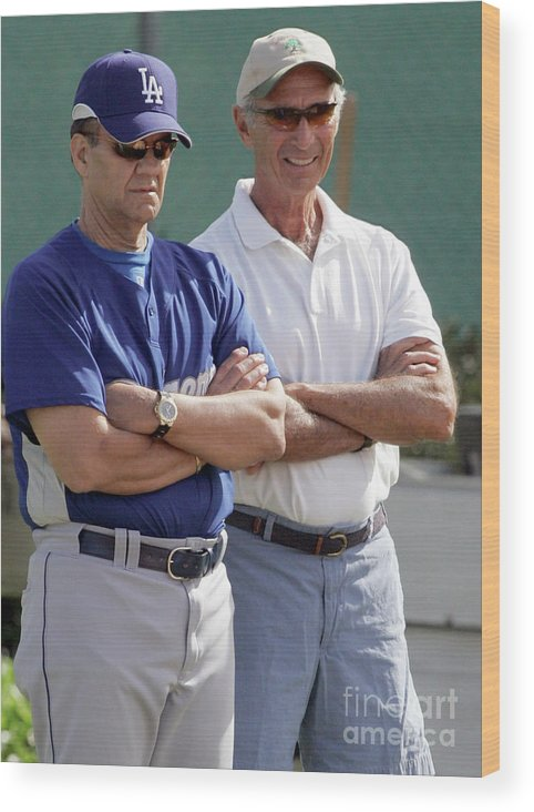 Sandy Koufax Wood Print featuring the photograph Sandy Koufax And Joe Torre by Icon Sports Wire