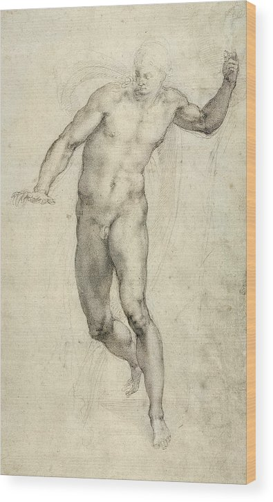 Sketch Wood Print featuring the painting Study For The Last Judgement by Michelangelo Buonarroti