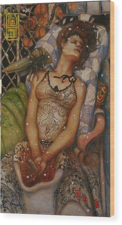 Ralph Nixon Jr Escaping Reality Wood Print featuring the painting Escaping Reality by Ralph Nixon Jr