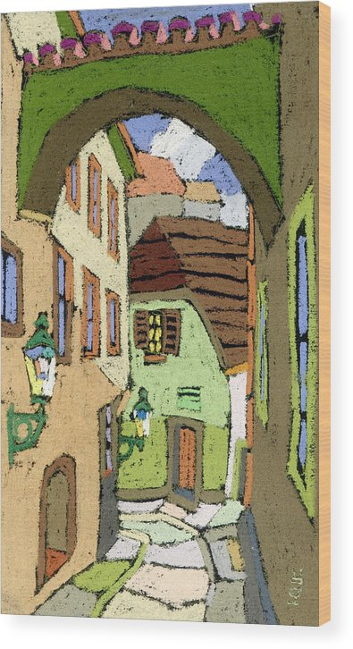Pastel Wood Print featuring the painting Cesky Krumlov Masna Street by Yuriy Shevchuk