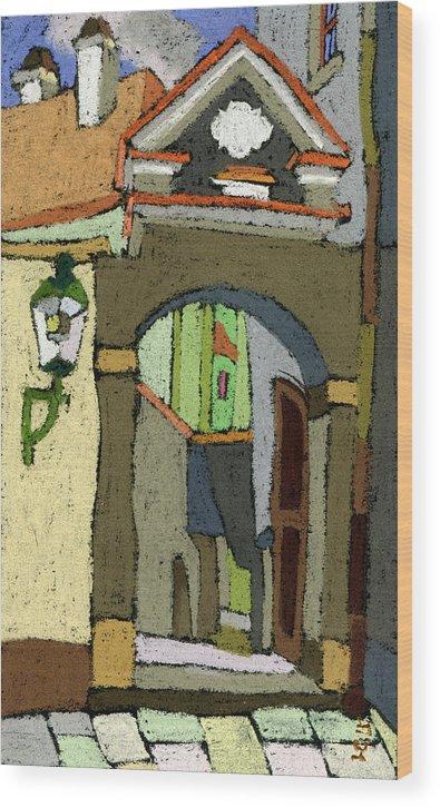 Pastel Wood Print featuring the painting Chesky Krumlov Old Street Latran by Yuriy Shevchuk