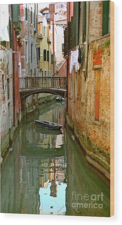 Venice Wood Print featuring the photograph Little Boat On Canal In Venice by Michael Henderson