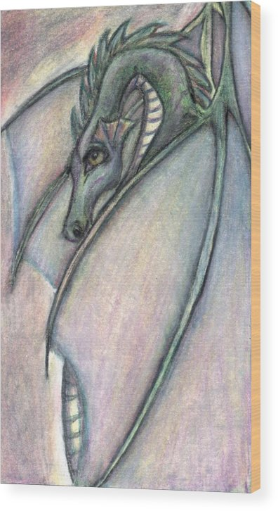 Dragon Wood Print featuring the drawing Protective Mother by Jennifer Skalecke