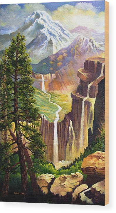 Western Art Mountains Wood Print featuring the painting Three Sisters Falls by Donn Kay