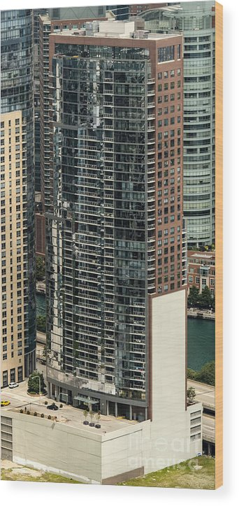 The Chandler Condominiums Wood Print featuring the photograph The Chandler Condominiums Building Chicago Aerial by David Oppenheimer