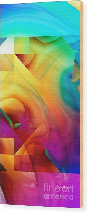 Abstract Realism Blocks Forms Female Abstract Wood Print featuring the digital art Inside Outside Upside Down by Carolyn Staut